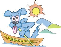 Cartoonial dog in speed boat. Tired dog showing his tongue, sitting in a boat with inscription SPEED and rowing oars. Vinyl-Ready Vector EPS Illustration Royalty Free Stock Photography