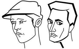 Cartooning faces of the man Stock Photos