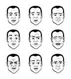 Cartooning Faces of the Man Royalty Free Stock Images