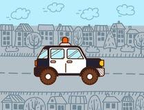 汽车cartoonish图象查出的警察样式白色 向量动画片 皇族释放例证