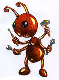 Cartoonish ant worker sketch. Hand drawn ink and markers sketch of a cartoonish ant worker character holding hammer, tongs, screwdriver and whench Royalty Free Stock Image
