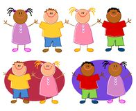 Cartoonish Children Holding Hands. An illustration featuring your choice of cartoonish child characters holding hands - top row includes all holding hands, while Stock Photography