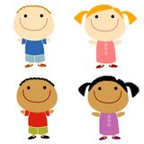 Cartoonish Children Smiling. An illustration featuring your choice of cartoonish child characters smiling - boys and girls Stock Photos