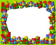 Cartoonish Christmas Gifts Border or Frame Stock Photo