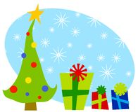 Cartoonish Christmas Trees Gifts 2 Royalty Free Stock Images