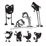 Cartoonish creatures. Children`s drawings. Vector Stock Images