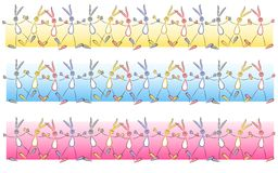 Cartoonish Easter Bunny Border Elements Stock Images