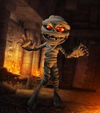 Cartoonish Funny Monster Mummy Egyptian Temple. 3D rendering of a cartoonish concept of a funny cute monster Mummy in an ancient Egyptian temple Royalty Free Stock Photography