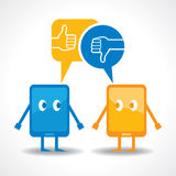 Cartoonish gadgets with message bubble and like ,unlike symbol. Illustration of cartoonish gadgets with message bubble and like ,unlike symbol Stock Photography