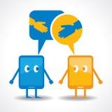 Cartoonish gadgets with message bubble and like ,unlike symbol. Illustration of cartoonish gadgets with message bubble and like ,unlike symbol Stock Photos