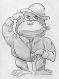 Cartoonish gorilla buisnessman. Hand drawn pencil sketch of a cartoonish gorilla wearing hat, jacket and pants, holding a little case in it's left arm and Stock Photo