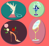 Cartoonish lady's accessories. Painted lady's accessories as stand for jewelry, bottle of perfume, designed shoes and big floor mirror Royalty Free Stock Photo