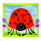 Cartoonish Ladybug Clip Art. A clip art illustration featuring cartoonish looking ladybug with black face and bright red shell with spots sitting in grassy spot Stock Photos