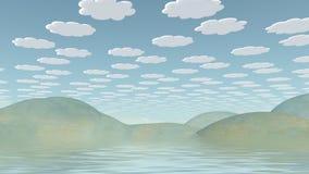 Cartoonish Landscape. Spookily serene landscape. Cartoonish clouds in the sky Royalty Free Stock Photo