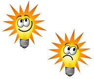 Cartoonish Lightbulb Character. An illustration featuring a couple of lightbulb characters happy and sad isolated on white Stock Images