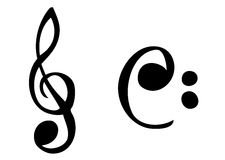 Cartoonish music symbols. Cartoon treble and bass symbols Royalty Free Stock Image