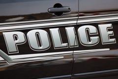 cartoonish samochodowy wizerunek odizolowywał stylowego policja biel Fotografia Stock