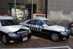 cartoonish samochodowy wizerunek odizolowywał stylowego policja biel obrazy royalty free