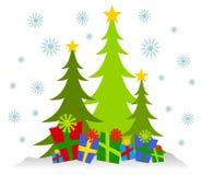Cartoonish Weihnachtsbäume und Geschenke Stockbilder