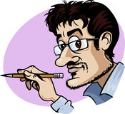 Cartoonist at work. Caricature of a smiling cartoonist holding a yellow pencil - Cartoon style Royalty Free Stock Photo
