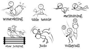 Cartoonized mężczyzna angażuje w różnych sportach ilustracja wektor