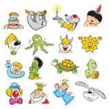 Cartoons. Mix illustrations 2D Colors stock illustration
