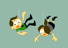 Cartoons Business man and Business woman Falling Over Stock Photo