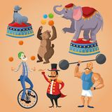 Cartoons of circus festival. Elephant seal bear clown presenter and man cartoon icon. Circus carnival and festival theme. Colorful  design. Vector illustration Stock Image
