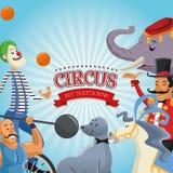 Cartoons of circus festival. Elephant seal horse clown presenter and man cartoon icon. Circus carnival and festival theme. Colorful  design. Vector illustration Royalty Free Stock Photos