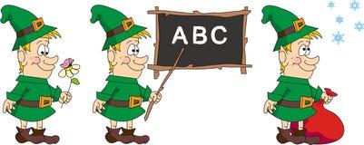 cartoons elf merry stock illustrationer
