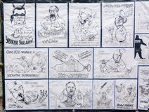 Cartoons of the government officials are seen in opposition camp Stock Photography