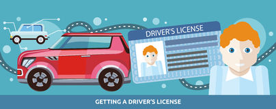 Cartoons Man with Driver License Stock Image