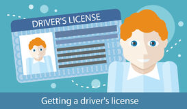 Cartoons Man with Driver License Royalty Free Stock Images