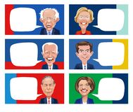 Free Cartoons Of Six Democratic Candidates For Presidential Election. Royalty Free Stock Photo - 174002105