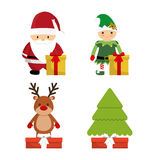 Cartoons set of Chistmas design Royalty Free Stock Image