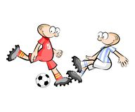 Cartoons Soccer players isolated over white Royalty Free Stock Images
