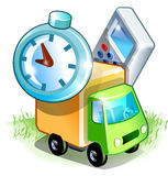 Cartoons truck near by objects. Small truck standing in the field near by any items. You can look at this as for instance a great icons vector illustration
