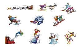 Cartoons about winter sports Royalty Free Stock Images