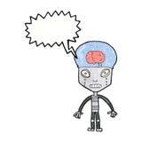 cartoonw weird robot with speech bubble Royalty Free Stock Photo