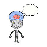 cartoonw weird robot with thought bubble Royalty Free Stock Photography
