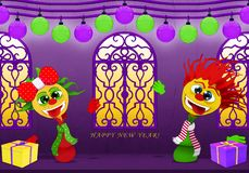 Happy New Year in purple and yellow, Cartoony boy and girl vector illustration