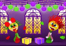 Happy New Year in purple and yellow, Cartoony boy and girl royalty free illustration