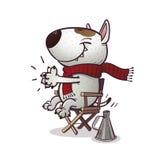 Cartoony bullterrier claps Stock Photo