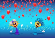 Cartoony Characters and red balloons Illustration. Cartoony Characters and red balloons royalty free illustration