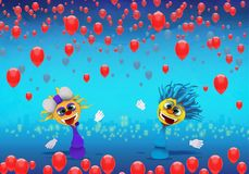 Cartoony Characters and red balloons. Illustration High Resolution stock illustration