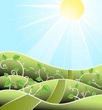 Cartoony floral sunny scenery Stock Photography