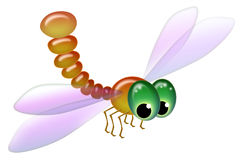 Cartoony goggle-eyed dragonfly isolated on white background Royalty Free Stock Photos