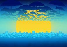 Cartoony-Skyline-Hintergrund mit Wolken, Regenschirmen und Sonnenuntergang vektor abbildung