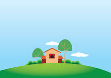 Cartoony Stule Country House and Trees Stock Photos