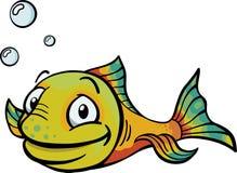 Cartoony yellow fish. A happy, waving yellow fish in the water Stock Image